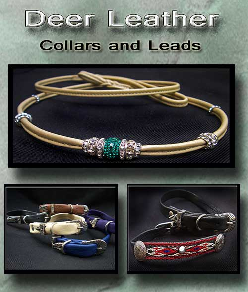 Deer Leather Collars and Leashes