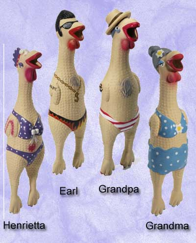 Earl Rubber Chicken, dog toy, chicken toy,