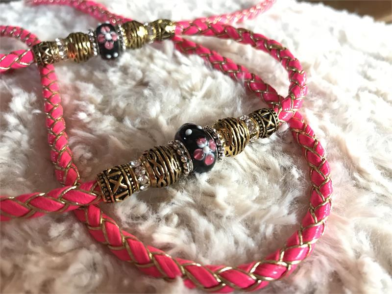 P Leather Beaded Dog Show Lead
